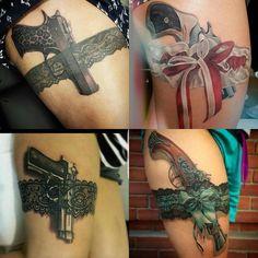 Tattoo thigh garter pistols 43 new Ideas Lace Thigh Tattoos, Lace Garter Tattoos, Leg Tattoos, Body Art Tattoos, Sleeve Tattoos, Tatoos, Horse Tattoos, Tattoo Thigh, Epic Tattoo