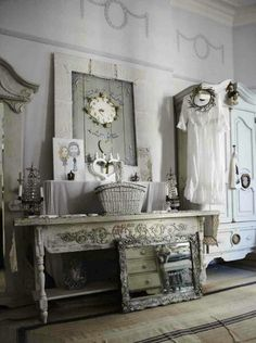 I really like this shabby chic in grey tones. You can add or take away any accent item that appeals to your taste. From: myrivergardenhome.
