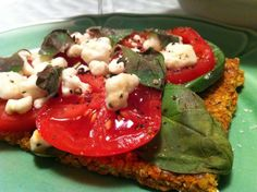 Alkaline raw pizza recipe. You can make it vegan by using cashew or almond cheese.
