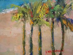 "paintings of palm trees | x8"" Landscape Oil Painting Framed with Mat, $150"
