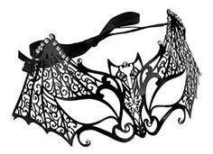 Laser Cut Bat Venetian Mask with Rhinestones