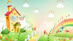 Spring Landscape With Rainbow Wallpaper Wallpaper Happy Wallpaper, Spring Wallpaper, Cute Wallpaper For Phone, Rainbow Wallpaper, Scenery Wallpaper, Kids Wallpaper, Photo Wallpaper, Cartoon Wallpaper, Holiday Wallpaper