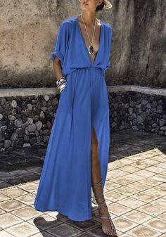 Robe maxi longue fendu le côté décolleté plongeant manches au coude mode bleu