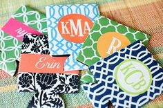 Monogrammed Koozies in any color and pattern.  Cute!