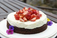 cheesecake på browniebotten