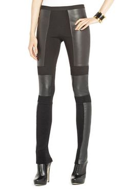 Bcbg-Chase Blocked Legging- i love how they are asymetrical Faux Leather Leggings, Black Leggings, Leggings Are Not Pants, Leather Pants, Real Leather, Maxis, Love Fashion, Fashion Outfits, Style Fashion
