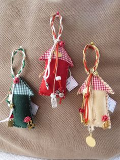 Little House Ornament for Good Luck by funnydots on Etsy, House Ornaments, Christmas Ornaments, Crafty Fox, Sew, Unique Jewelry, Handmade Gifts, Holiday Decor, Crafts, Etsy