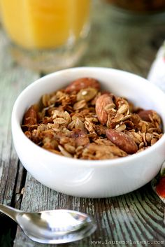 Loaded Pepita Granola by laurenslatest, via Flickr skip the brown sugar (and almonds for Isaiah)