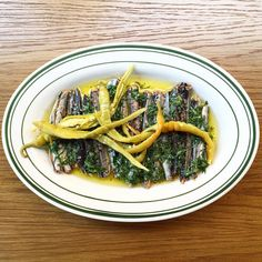 Marinated garfish with house-pickled guindillas, parsley and oregano. On tonight from 5pm.