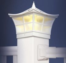 Attractively designed in a Japanese garden style, the Copper Ambience solar post cap provides a warm yellow light giving the effect of a real candle. Dependable peformance with a unique style. Solar Powered Deck Lights, Solar House Lights, Japanese Garden Style, Fence Post Caps, Patio Fence, Fence Lighting, White Home Decor, Fenced In Yard, White Houses