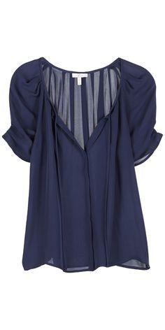 JOIE Berkeley Top Dark Navy | Short Sleeve Silk Blouse