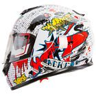 ♤∞ Graffiti White Dual Visor Full Face Street Bike Motorcycle Helmet IV2#... http://ebay.to/2s45L5i