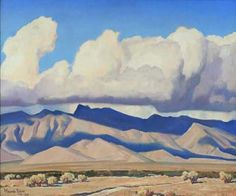 """Maynard Dixon - you feel the """"bigness"""" of the West.   The most beautiful clouds and mountains.  More like being there than actually being there sometimes."""