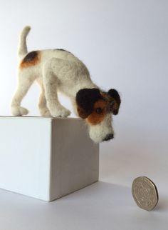 Needle felted Jack Russell, dog sculpture by mikaelabartlettfelt on Etsy https://www.etsy.com/listing/269634680/needle-felted-jack-russell-dog-sculpture