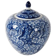"""Check out this item at One Kings Lane! 10"""" Ceramic Ginger Jar, Blue/White"""