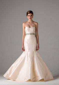 Blush mermaid wedding dresses offer a great way to be non-traditional and elegant at the same time! Dress: Anne Barge