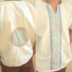 Organic Cotton Shipibo stripe and pendant shirt