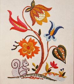 Jacobean Embroidery Patterns | Jacobean Embroidery Kit, Crewel Pattern, Squirrel & Flowers Vintage ...