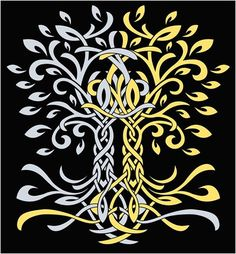 Telperion and Laurelin, the Two Trees of old in Tolkien's The Silmarillion.