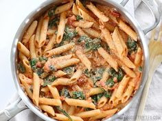 Creamy Tomato and Spinach Pasta is a fast an easy answer to dinner - BudgetBytes.com