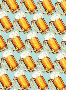 Beer Pattern Canvas Print by Kelly Gilleran. All canvas prints are professionally printed, assembled, and shipped within 3 - 4 business days and delivered ready-to-hang on your wall. Choose from multiple print sizes, border colors, and canvas materials.