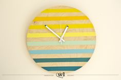 Danes – zegar drewniany 40cm (SILENT) Wooden Clock, Wooden Walls, Wall Clock Hands, Wood Oil, Hand Painted, Handmade, Painting, Etsy, Home Decor
