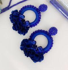 Camile Royal Blue Floral Hoop Earrings | Etsy Etsy Earrings, Earrings Handmade, Handmade Jewelry, Hoop Earrings, Boho Jewelry, Beaded Jewelry, Jewelery, Women Jewelry, Crochet Jewelry Patterns