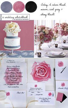 Mauve Blush Pink, Ebony Black + Gray Wedding Colors