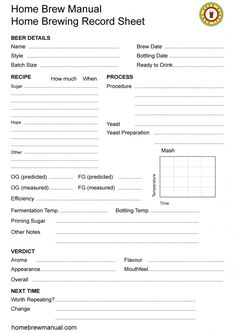 Home Brew Manual - Home Brewing Record Sheet