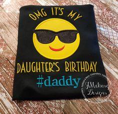 Family Birthday Emoji Applique shirt - Customizable - Emoji Birthday Shirt 113a #daddy by JMehargDesigns on Etsy