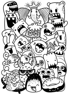 Vector illustration of Doodle cute Monster background ,Hand drawing Doodle Doodles Kawaii, Cute Doodles Drawings, Cute Monsters Drawings, Cute Doodle Art, Doodle Art Designs, Funny Doodles, Doodle Art Drawing, Cool Art Drawings, Easy Drawings