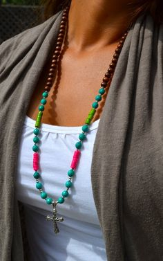 Long Turquoise & Brown Wooden Beaded Necklace by uniquebeadingbyme