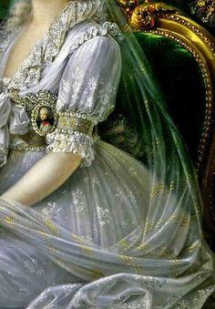 Luísa Maria Amélia Teresa de Nápoles e da Sicília, detalhe, por Joseph Dorffmeister (1764 – 1814).