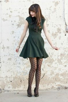 Love this shot,  love this outfit,  polka dot tights