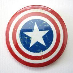 Vintage Captain America Pinback Button. Like us at Facebook.com/ButtonNinjas