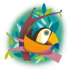 Giuditta Gaviraghi Illustration - giuditta, gaviraghi, guiditta gaviraghi,digital, traditional, commercial, picture book, picturebook, colour, colourful, sweet, cute, bird, nest, tree, branch, leaves, jungle, sleeping