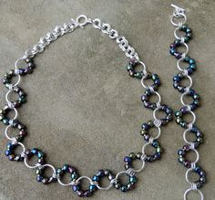 Wavy Chainmaille Necklace and Bracelet Set by kissthemoongems, $55.00