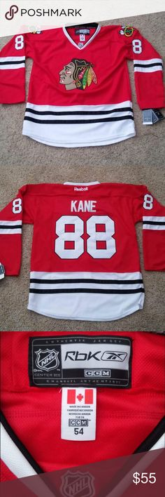 Chicago Blackhawks Reebok Patrick Kane #88 Jersey Chicago Blackhawks Reebok Patrick Kane #88 Jersey. Brand new with tags purchased the wrong size. Jersey has actual stitching instead of screen print. Canada size 54 converts to XXL U.S Reebok Shirts
