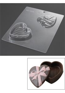 mold for ribbon wrapped heart gift box chocolate