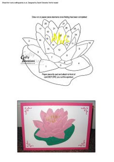 Iris Paper Folding Templates | Home : Iris Folding : Flowers / Floral : Waterlily Flower Iris Folding ...