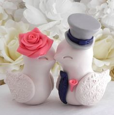 These little guys are pretty stinking cute  Love Birds Wedding Cake Topper, Beige, Coral, Navy and Grey, Bride and Groom Keepsake, Fully Customizable by LavaGifts on Etsy https://www.etsy.com/listing/253370071/love-birds-wedding-cake-topper-beige