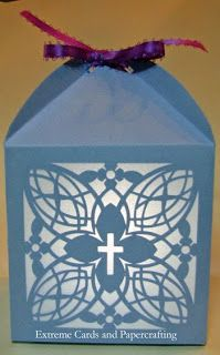 Christian cross motif tea light lantern.  Candy box or votive.  Cut with Silhouette Cameo.  Free SVG file for Cricut Design Space. Easter, christening, Communion?