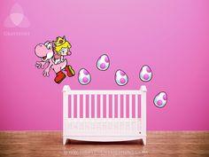 Baby Princess Peach Decal with Yoshi and Eggs - Large Vinyl Wall / Nursery / Crib Decal - Nintendo. $45.00, via Etsy.