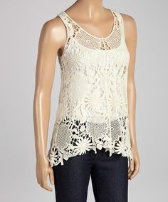 Another great find on #zulily! Natural Cream Crocheted Tank by Illa Illa #zulilyfinds
