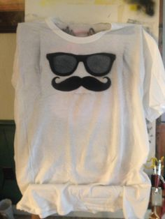 Glasses and 'stache airbrushed shirt. By Kimberly Switzer