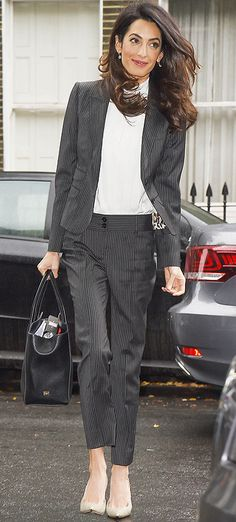 Amal Clooney in a chic pinstripe suit