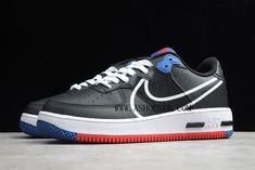 2020 Nike Air Force 1 React Black White Gym Red-Gym Blue CT1020-001  The Nike Air Force 1 React is the latest model to join the brands D/MS/X lineup as old-meets-new built to deliver new comfort. Dressed in a Black and University Red color scheme. 3M Reflective tongues and an icy outsole completes the design. The new model swaps its traditional midsole for a full-length drop-in Nike React midsole with a heel Ramp Air unit. Nike Reacts exaggerated style permeates onto the shoes exterior Air Force 1, Nike Air Force, Red Color Schemes, Classic Bar, Dramatic Look, New Model, Basketball Shoes, Red And Blue, Sneakers Nike