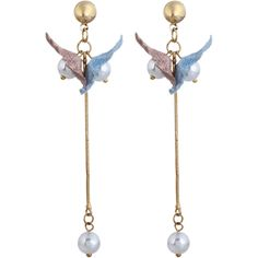 Faux Pearl Fringed Drop Earrings Blue And Pink ($30) ❤ liked on Polyvore featuring jewelry, earrings, faux pearl jewelry, pink jewelry, blue drop earrings, fake pearl drop earrings and fringe jewelry