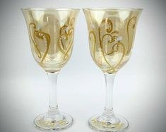 Gold hand painted wine glasses, set of two, gold heart wine glasses, anniversary wine glasses, wedding wine glasses, wedding gift