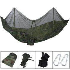 Outdoor Furniture New Outdoor Hanging Hammock Portable High Strength Fabric Hammock Hanging Bed With Mosquito Net Sleeping Bed 260x130cm Factories And Mines